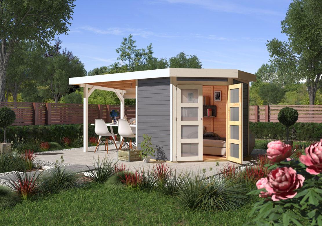 ich liebe meinen garten karibu gartenhaus goldendorf 3 terragrau mit 280 cm anbaudach. Black Bedroom Furniture Sets. Home Design Ideas