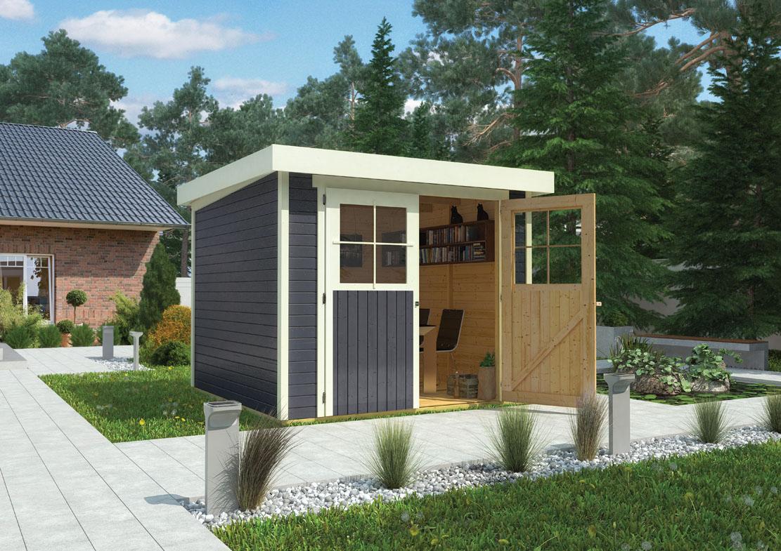 ich liebe meinen garten karibu gartenhaus limburg 3 inkl anbaudach terragrau. Black Bedroom Furniture Sets. Home Design Ideas